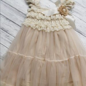 Other - Champagne rustic French lace vintage dress
